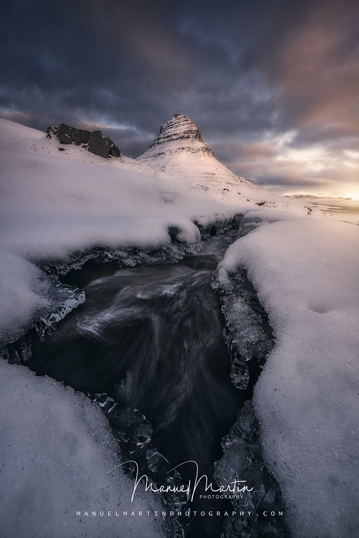 Rushing Water under the Mountain Peak