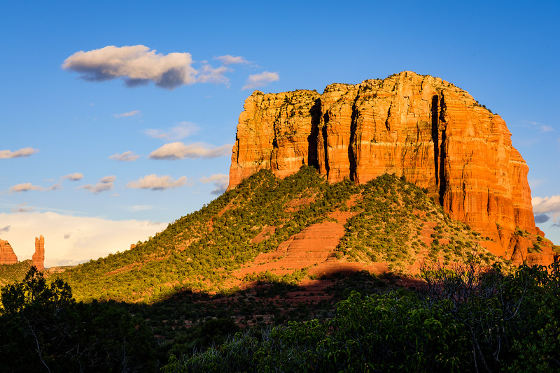 Courthouse Butte Seen From Yavapai Point at Sunset