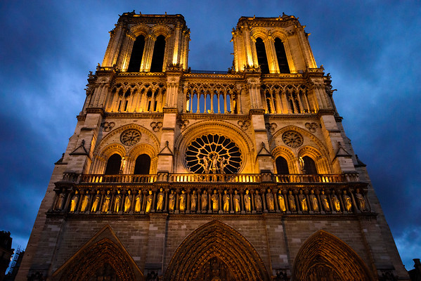 Notre Dame glowing in the evening. This is the shot I need to go back and take with a tripod.