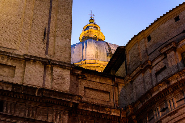 The dome of basilica of Santa Maria degli Angeli. This was taken from a side street behind the building.