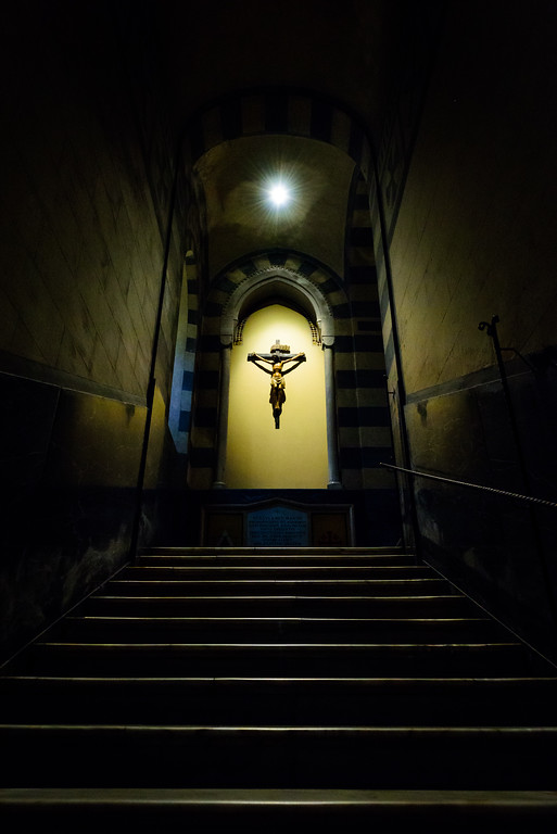 Stairs leading out of the crypt under the Amalfi cathedral