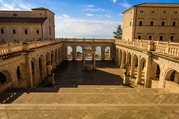 The central courtyard of the abbey at Monte Cassino. The statue of St. Benedict is down on the right side of this picture.