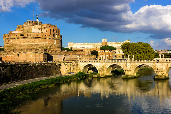 An unplanned capture of Ponte Sant'Angelo, which spans the Tiber river, with Castel Sant'Angelo on the left