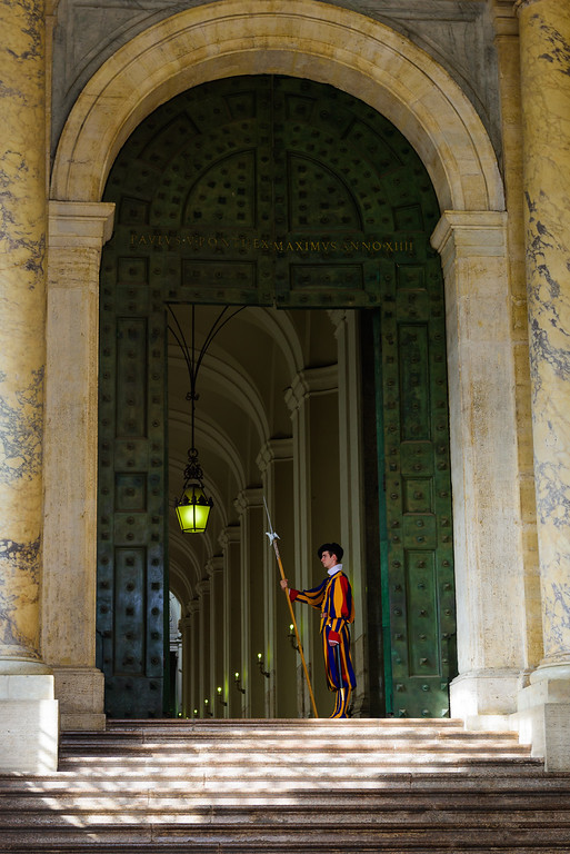 A Swiss Guard at the main entrance to St. Peter's Basilica. All of the Holy Doors were open while we were in Italy, for the Extraordinary Jubilee Year of Mercy. Normally they are sealed (with concrete) for 25 years at a time.