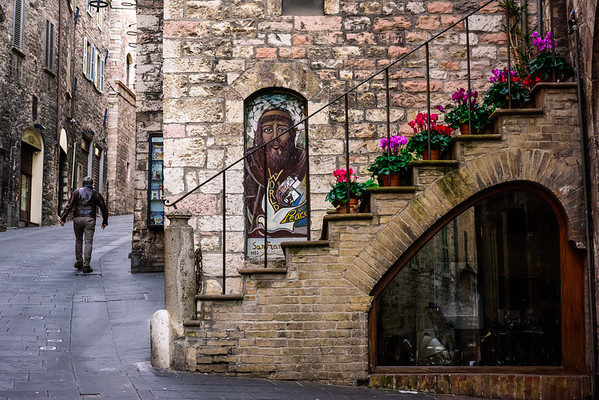 Walking the streets of Assisi in the early morning