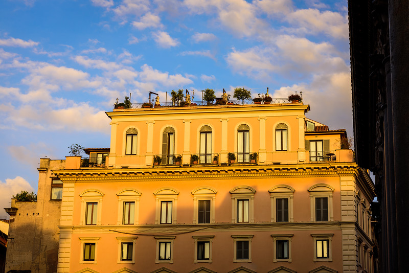Sunset Light on an Apartment Building in Rome