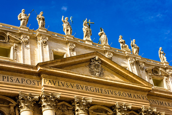 The central pediment and statues on top of St. Peter's Basilica