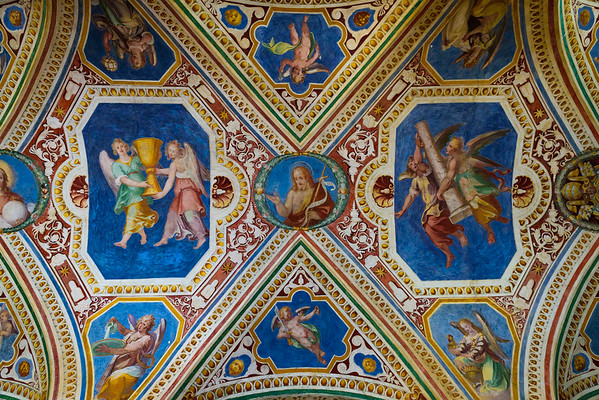 The painted ceiling of the staircase NEXT to the Scala Santa