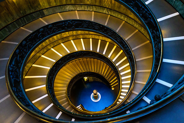 The modern Bramante staircase, in the gift shop of the Vatican Museums