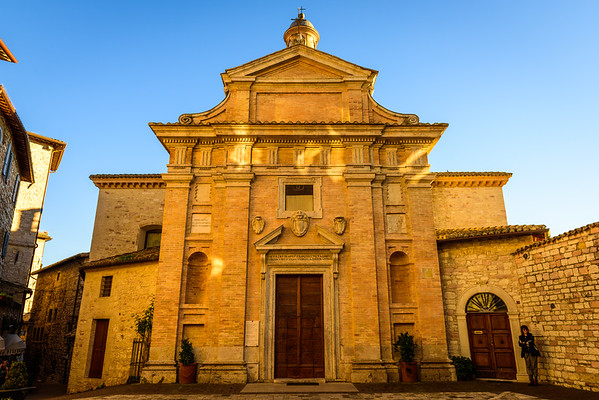 The Facade of Chiesa Nuova in Assisi at Sunset