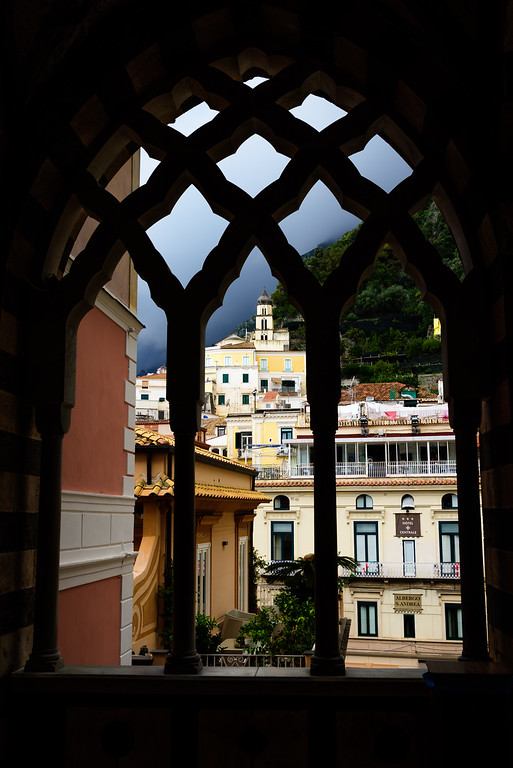 Part of the town of Amalfi, as seen through the portico of the cathedral