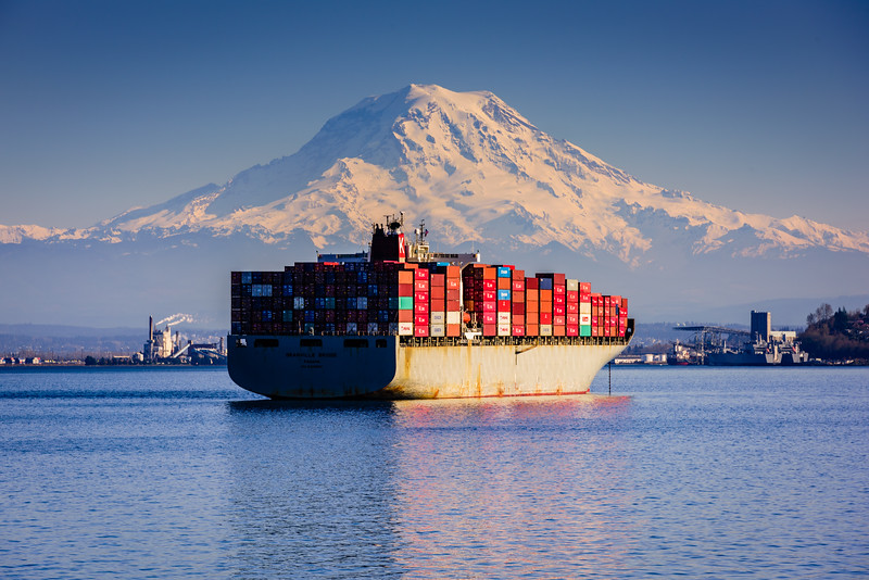 Container Ship and Mt. Rainier