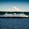 Washington State Ferry passing in front of Mt. Rainier