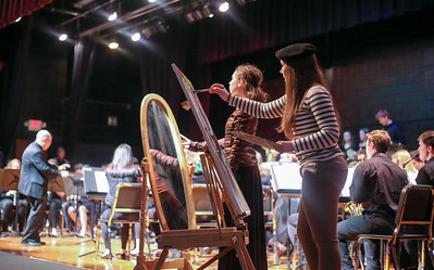 "Kayla Underkoffler plays Pablo Picasso and Addie Obrzut plays the artist's muse during ""Prisms Through Time,"" a special presentation of the Canton Music Department held Feb. 4."
