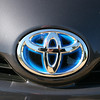 A look at the front Toyota logo.
