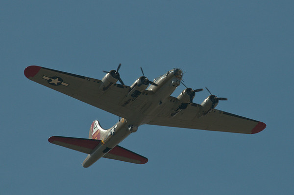 WWII vintage B-17 bomber belonging to the Collings Foundation over Lincoln, CA.