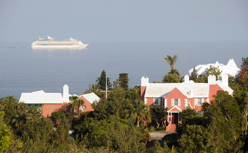 cruise ship passing along South Shore, view from Monk's Bunk