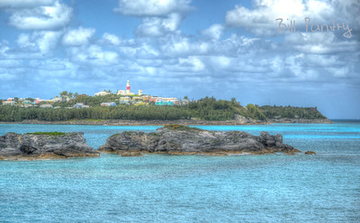 view of St David's Lighthouse from Cooper's Island, St David's, Bermuda