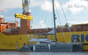 Big Lift's Happy Delta collecting it's cargo for trip home after The America's Cup in Bermuda.