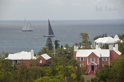"""J"" Boat regatta off South Shore. View over Knapton House, from Monk's Bunk, Knapton Hill, Smith's, Bermuda"