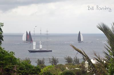 """J"" Boat regatta off South Shore. View of Maltese Falcon setting sail. Taken from Monk's Bunk, Knapton Hill, Smith's, Bermuda"