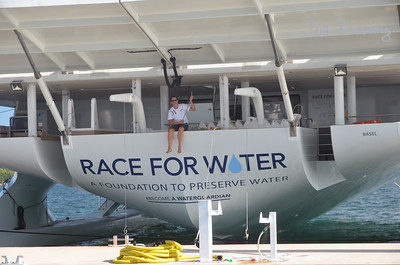 America's Cup Finals. Foundation to Preserve Water fund raising yacht in Caroline Bay Marina, Morgan's Point, Bermuda