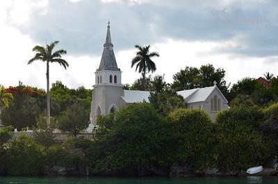 Trinity Church from Harrington Sound, Hamilton Parish, Bermuda