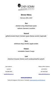 Feb 20th menu