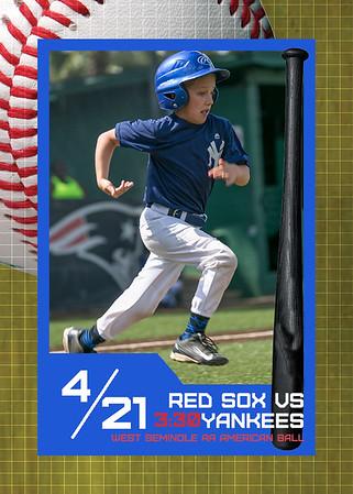 WS Red Sox vs Yankees - 3:30 April 21, 2018