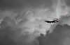 A small plane coming down into London city airport ..<br /> on a very stormy day