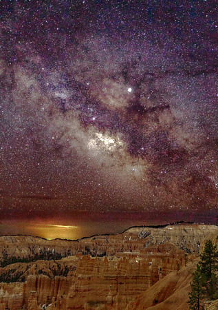 This is the two photograph composite of the Milky Way over Bryce Canyon National Park.