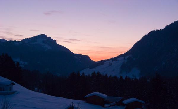 Sunset from my hotel window   Oberstdorf, Bayern Germany