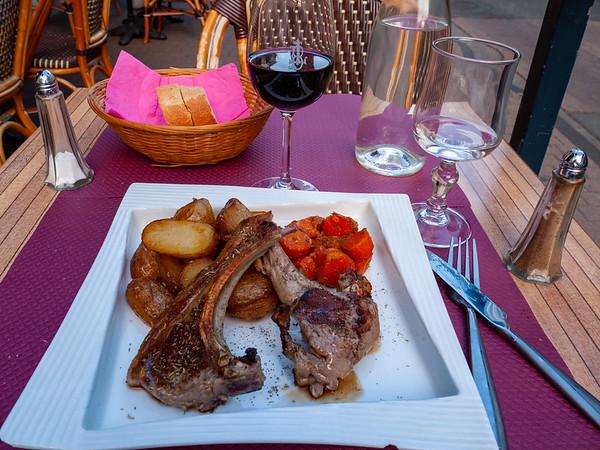 Lamb chops with roasted potatoes and cumin carrots.   Saumur, Pays de la Loire, France