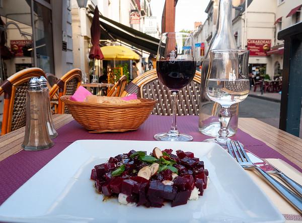 Salad of beets with roquefort. Yum! | Saumur, Pays de la Loire, France