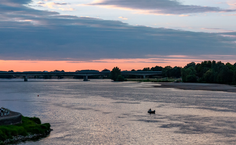Sunset over the Loire   Saumur, Pays de la Loire, France