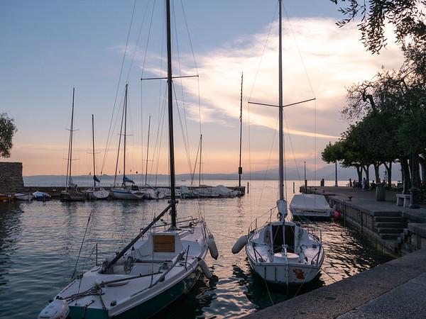 Sunset over the harbor in Torri | Torri del Benaco, Veneto, Italy