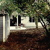 From behind the garage (old one car) myrtle tree on the right, smaller patio & great room french doors in the background