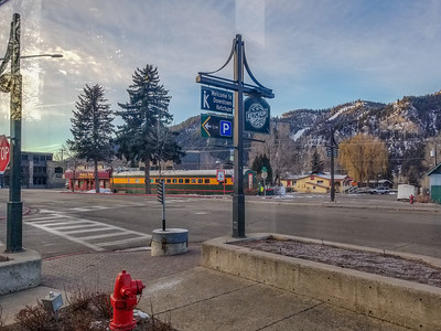 View from lobby of Hotel Ketchum, Ketchum, Idaho