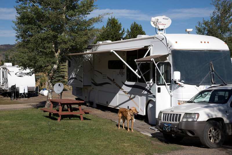 Enzo, in front of our Alfa Motorhome at RedRock RV Park. Sep 7, 2013. Idaho