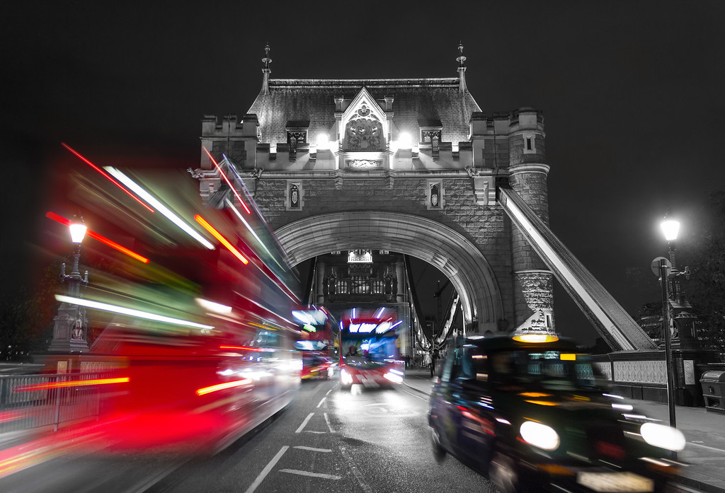 Tower Bridge and Traffic Color Splash