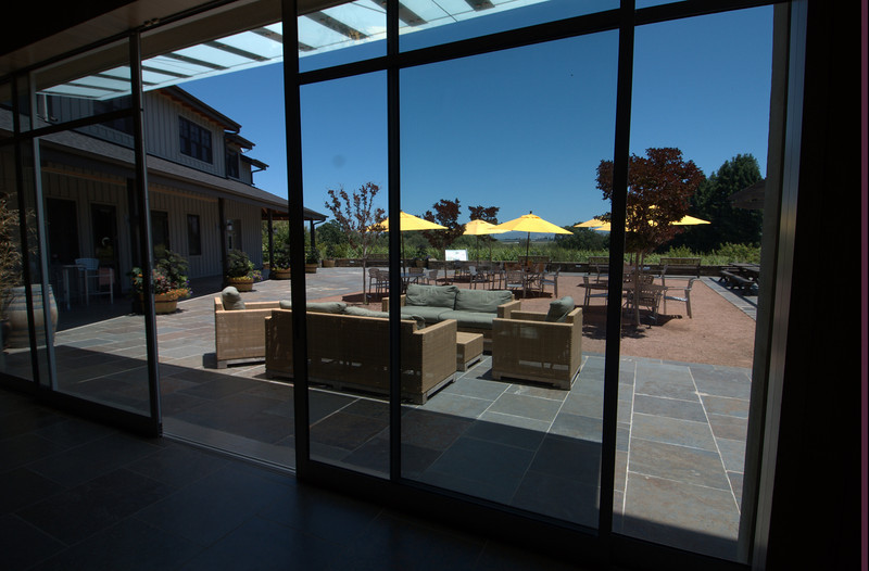 View from the tasting room onto the terrace, vineyards in the background.