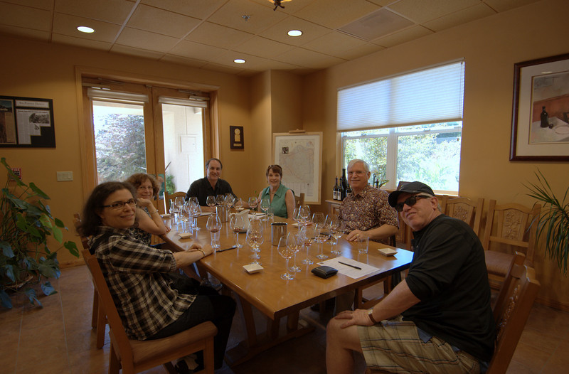The gang - glasses empty after the tasting