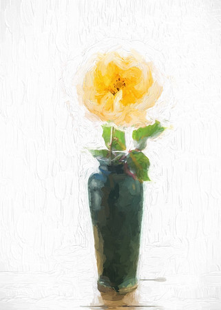 Painted Yellow Rose in Green Vase