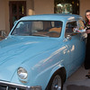 """Donna """"Dilks"""" Perdue with classic Studebaker and serving tray from the good ole days at Oscars or ?."""