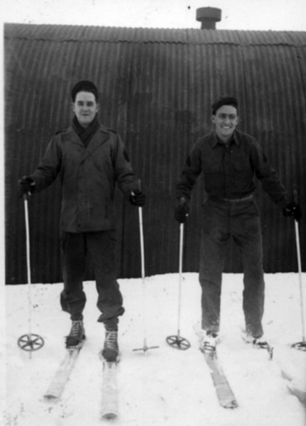 Dad on the right with Skis near Dutch Harbor, Alaska.