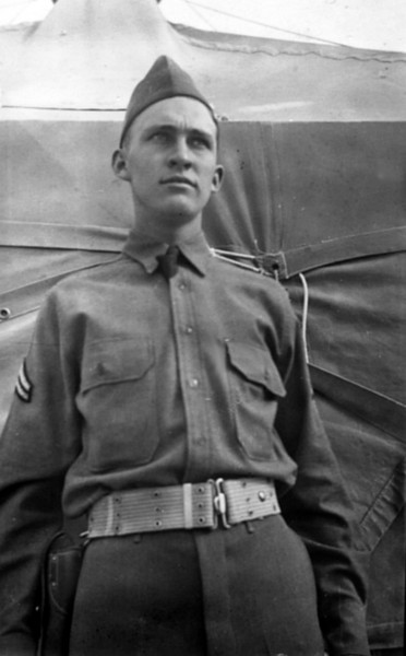 My dad, Cpl. Emon C. Perdue, probably at Fort Bliss, Texas prior to shipping out to the Aleutian Islands. Hard to tell since there is no background to confirm.