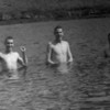 My dad, Emon C. Perdue, on left, swimming at Dutch Harbor during World War II. That's gotta be cold water!