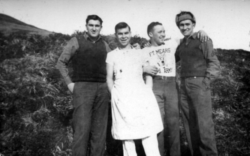 My dad on the right, posing at Dutch Harbor with army friends. Ft. Mears was the name of the army base built there.