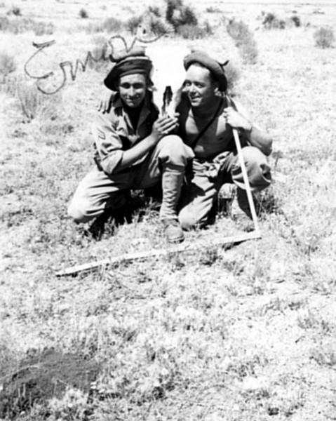 My Dad, Emon C. Perdue on left probably in New Mexico during training to go to Dutch Harbor, Alaska. 1941
