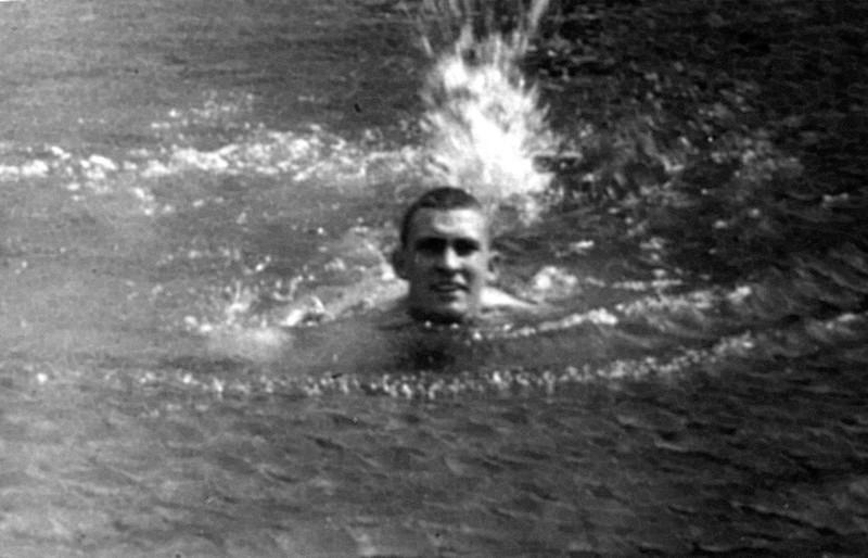 My Dad, Cpl. Emon C. Perdue swimming in Dutch Harbor, Aleutians, Alaska. 1941-43